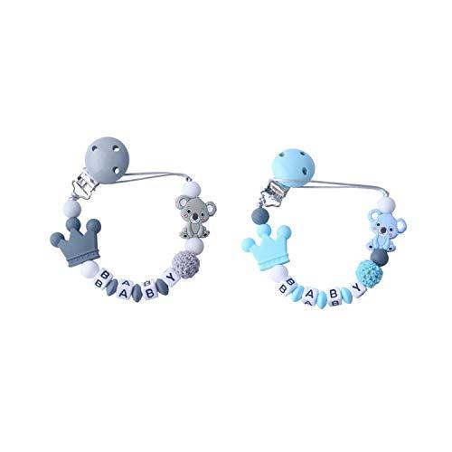 Jieddey Cadenas Chupetes Bebé,2 PCS Personalizados Chupetero de Silicona Soporte para Chupete Cuentas de Dentición para Bebés Niños Niñas Unisex para Recién Nacidos Sin BPA Gris+Azul