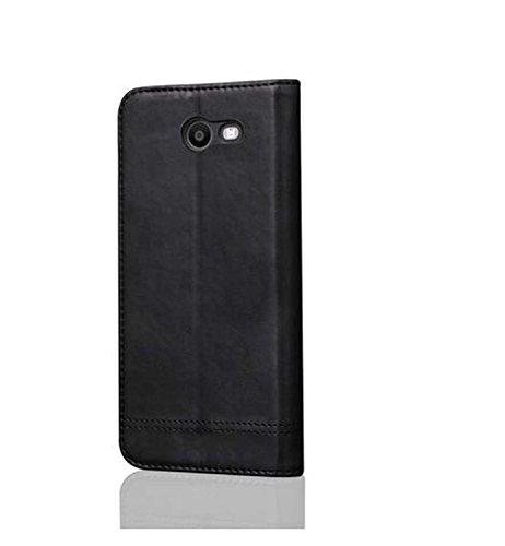 WLWLEO Multifunctionele reistas sporttas outdoor sporttas portemonnee magneetsluiting veersluiting leren veer tas met geïntegreerde klapstandaard, Samsung Galaxy J3, zwart.