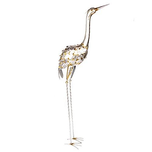 Garten Figuren Fischreiher Abwehr Vogel Dekofigur XXL Silber - Gartenstatuen Vögel & Gartenfiguren für außen Tiere - Deko Figuren aus...