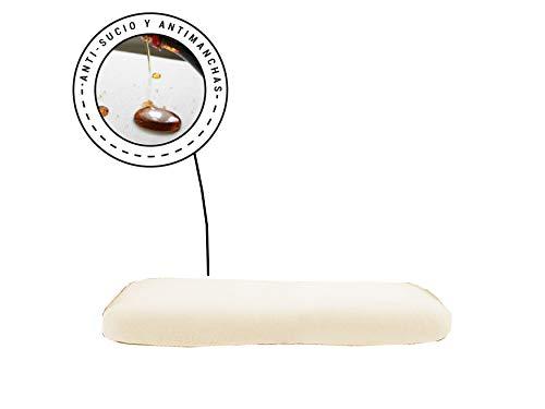 Banzaii Funda Sofa Elastica con Funda Asiento Impermeable – Cubre Sofa con Cojin – Protector Sofa con Asiento Separado - Poliéster (VR.12 Crema, Cojín de 2 Asientos 110-140 cm)