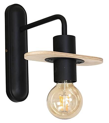 Homemania HOMAX_4602 - Lámpara de pared Andromeda, aplique negro de metal, madera, 20 x 22 x 24 cm