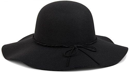 styleBREAKER Floppy Fedora Filzhut mit schmalem Zierband und Schleife aus Filz, Hut, Damen 04025008, Farbe:Schwarz