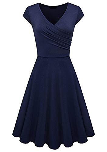 YMING Ladies Elegant 50s Dress Vintage Cap Sleeve Dress Summer V Neck Dress Navy Blue M (Apparel)