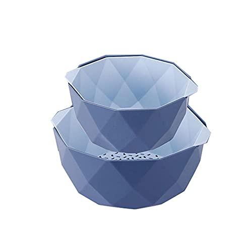 Colador de Cocina Plastico, 2 en 1 Cesta Frutas, 2 Tamaños Cesta de Drenaje, Multifuncional Accesorios Cocina, Desmontable de Doble Capa Fácil de Limpiar para Lavar Frutas Verduras Camping-azul