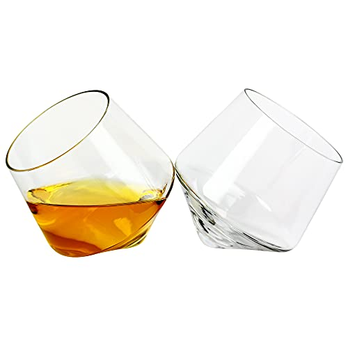 Barbuzzo Rolling Whiskey Glasses (Set of 2) – Hand-Blown Stemless...