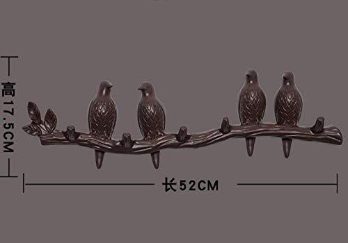 Fuqiang Ganchos Adhesivos Ganchos sin Agujeros Perchas Perchero de Pared Ganchos-marrón_4 pájaros pequeños Almacenamiento en el Pasillo