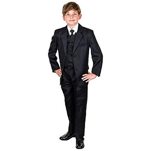 Festlicher 5tlg. Jungen Anzug in vielen Farben M290sw Schwarz Gr. 12/140 / 146