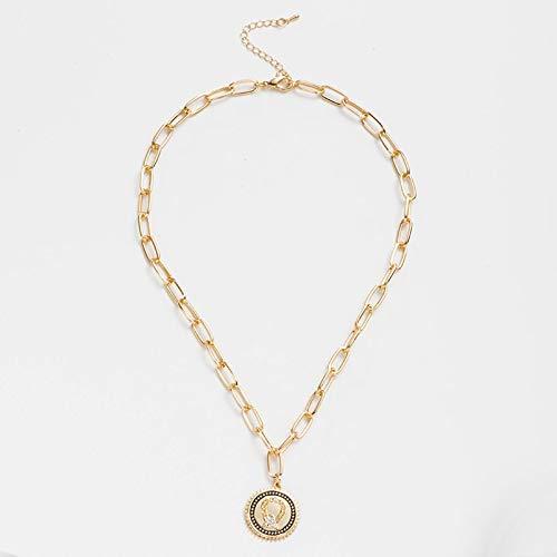 Dfgh Minimalisme sieraden eenvoudige Coin Long Chain Gouden Ketting Delicate gesneden Rune Pendant kettingen for vrouwelijke Choker Gift (Metal Color : Style5)