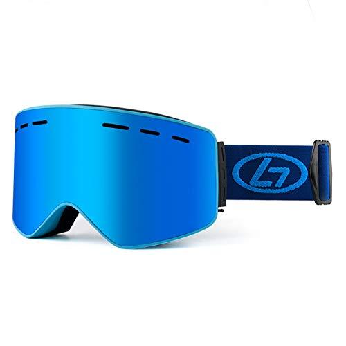 XDKS Gafas de esquí de snowboard con protección UV, antivaho, gafas de esquí con imán doble antivaho, gafas de esquí para exteriores, equipo de esquí (azul)
