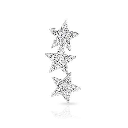 Pendiente de cartílago de estrella, certificado SGL 0,36 ct diamante trepador, pendiente celeste Crawler, piercing de helix conch, puños delicados para las orejas, Joyas para el cuerpo