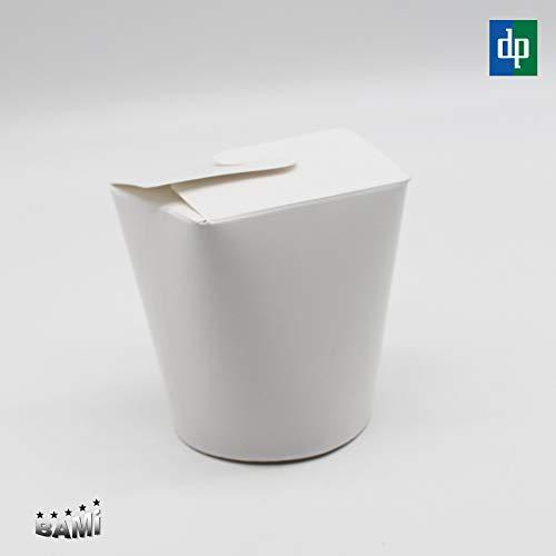 BAMI EINWEGARTIKEL 100-500 Stück Asiabox Dönerbox Nudelbox Faltbox Snackbox Weiß rund 16oz 450ml (100)