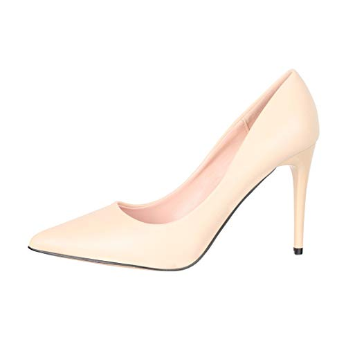 Elara Damen Pumps Spitz High Heels Stiletto Chunkyrayan B0-110 Beige-39