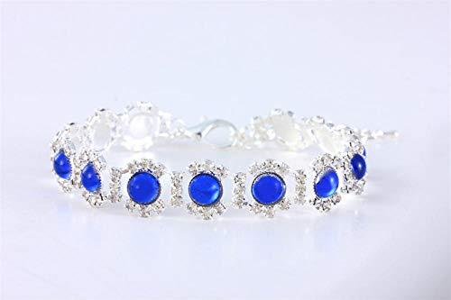 Exquisito collar de perro de cristal con diamantes de imitación brillantes, collar para gatito, Chihuahua, suministros de joyería para mascotas-azul_S