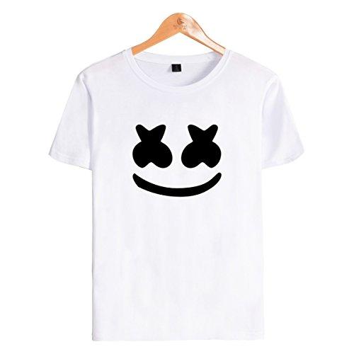 SIMYJOY para niños fanáticos DJ Cara Sonriente T-Shirt Camiseta de Manga Corta de Sonido electrónico Blanco XS