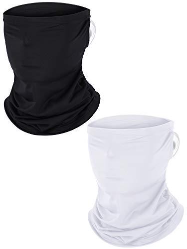 2 Stück Ohr Hängende Halsmanschette Gesichtsschutz Motorrad Bandana Sonnen UV Schutz Sturmhaube Kopfwickelschal zum Angeln Jagen Motorradfahren und andere Outdoor Sport (Schwarz,Weiß)