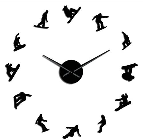 mbbvv Esquiador Retrato contemporáneo Bricolaje Reloj de Pared esquí Deporte Tema acrílico Espejo calcomanía Reloj Regalo para Snowboarders