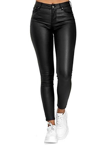 Onsoyours Damen Lederhose Kunstlederhose Damen Hose in Leder Optik bis Übergrösse Schwarz XL