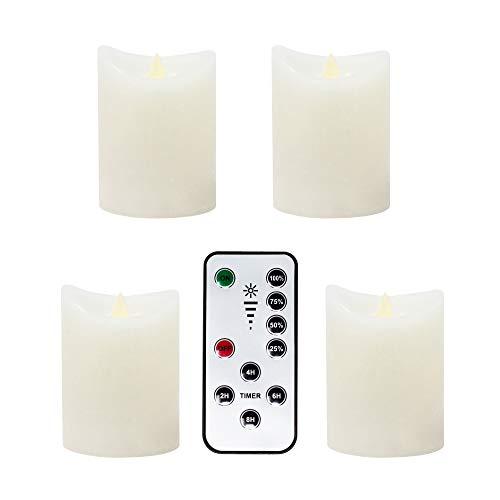 LED-Kerzen-Set flammenlos flackernd batteriebetrieben mit Fernbedienung Timer und Dimmer aus Echtwachs zur Weihnachtsdekoration