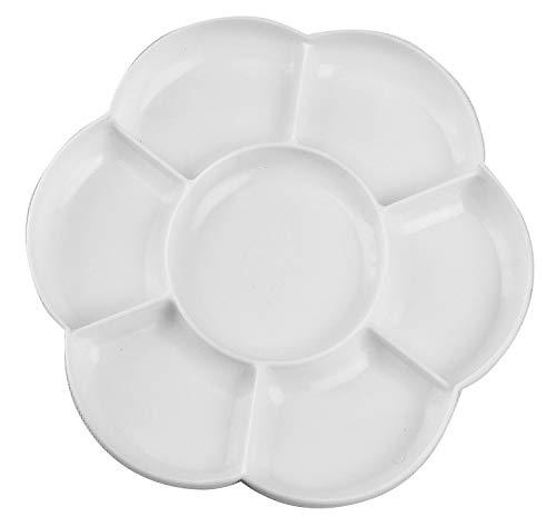 Kreul 41818 - Mischpalette aus Kunststoff in Blütenform, mit 7 Vertiefungen, Durchmesser ca. 17 cm, weiß, ideal zum Mischen von Farben