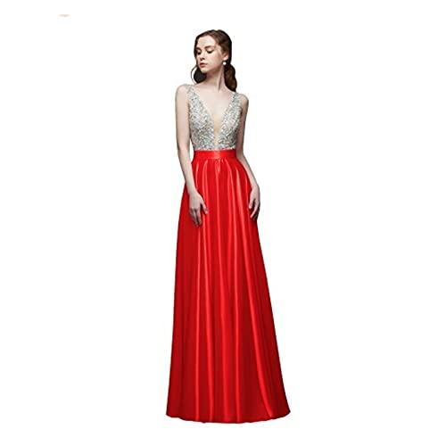TDIDOJQ Abito da Sera Senza Schienale con Scollo a V Collo a V Perline A-Line Beaded Crystal Bodice PartyFormal Prom Gown (Color : Red, US Size : 14)