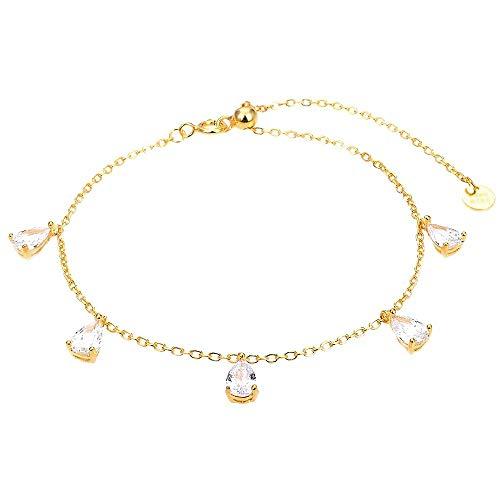 Pulsera Luxenter plata Ley 925m baño oro colección Haelar lágrimas circonitas blancas