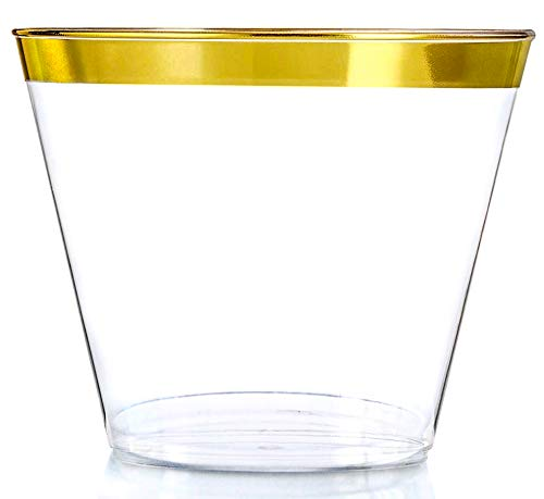 Gold Rim Solid Clear Plastic Cups | 50 Elegant 9 Oz Recyclable Great Tableware for All Occasions Bridal Shower Wedding Birthday Catering Christmas New Year Party | Old Fashioned Tumbler Made to Party