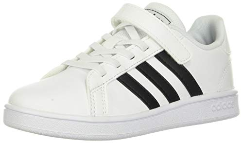 adidas unisex child Grand Court - Kids Sneaker, White/Black/Pure White, 13.5 Little Kid US