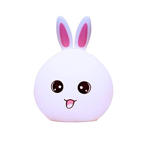 Huguo USB Recargable led Siete Colores atenuación inalámbrico Control Remoto táctil niño Lindo Conejo Silicona Pat lámpara luz Nocturna Rabbit