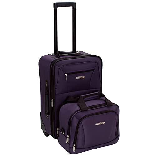 Rockland Fashion Softside Upright Luggage Set, Purple,...