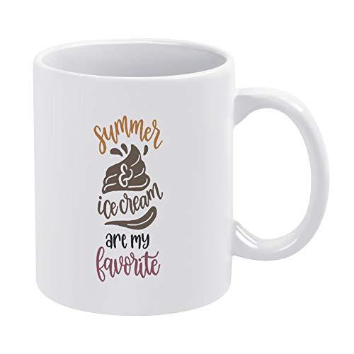 Taza de café de cerámica de verano y helado, única comida de cocina inspiradora, divertida taza de té, taza blanca de 315 ml, regalo de cumpleaños de Navidad para hombres y mujeres