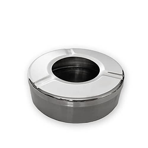 Cenicero de metal acero inoxidable ideal para interiores y exteriores, cenicero con...