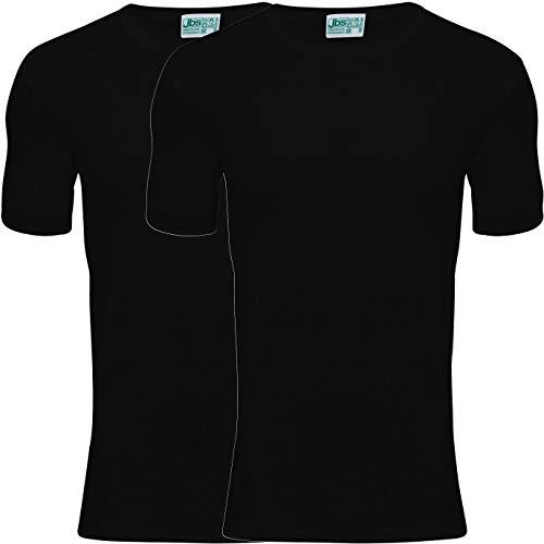 JBS T-Shirt Herren Schwarz, Rundhals (2er Pack) Ideale Passform durch 100% organische Baumwolle (Ohne Kratzende Seitennähte)schwarz, XL