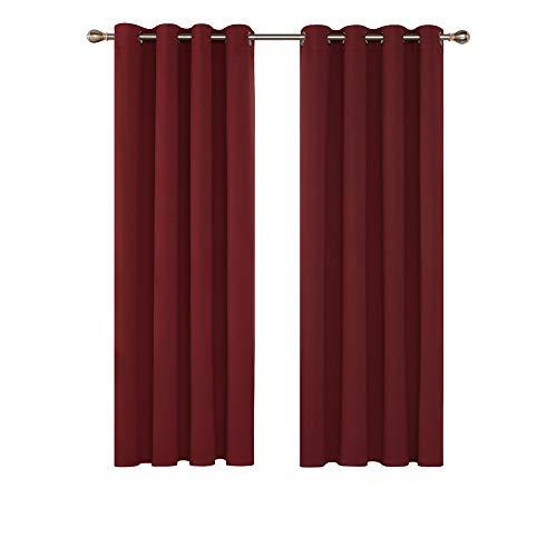 Deconovo Verdunkelungsvorhang Ösen Gardinen Weihnachten Wohnzimmer Vorhang Blickdicht 175x140 cm Rot 2er Set