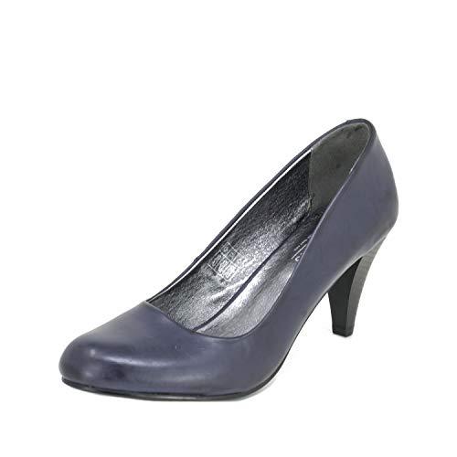 Fitters Footwear That Fits Damen Pump Princess PU Pumps mit bequemem Lederfutter Übergröße (43 EU, dunkelblau)
