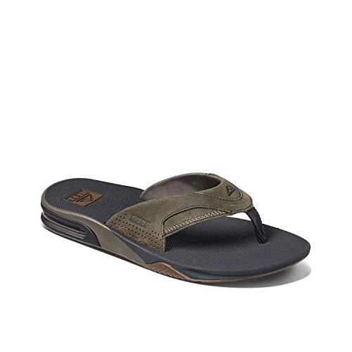 Reef Men's Sandals | Leather Fanning, Grey, 10