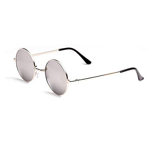 Hippie-Vintage-Sonnenbrillen von Unisex - Anti-UV-Retro-Übergroße runde Brillen (Silberharzlinsen)