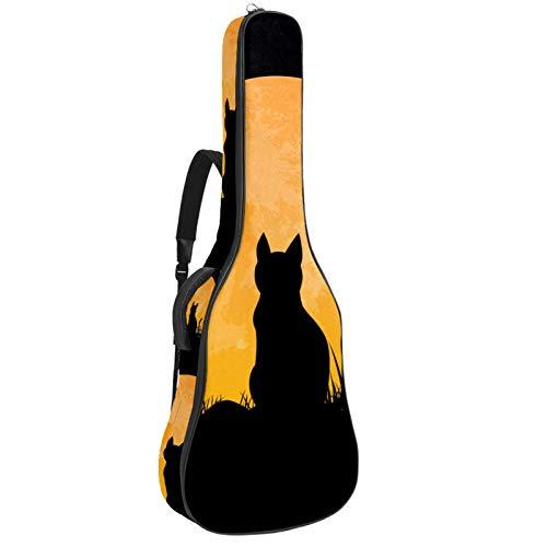 Gitarrentasche für Akustikgitarre, 104 cm, hochwertig, doppelt verstellbar, Schwarz / Katze / Mond