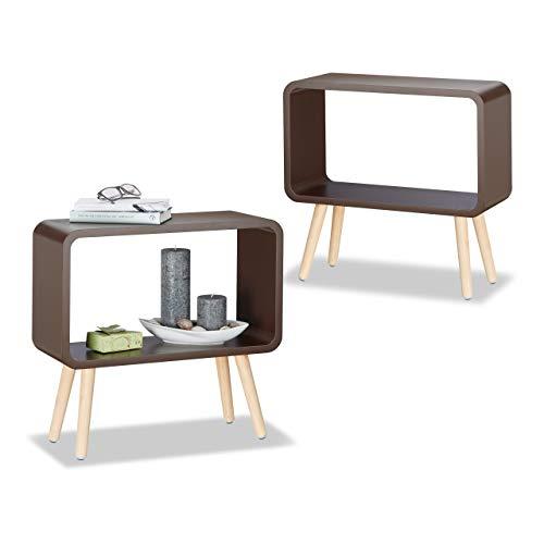 Relaxdays 2er Set Nachttisch ohne Schublade, Standregal klein, modernes MDF Holzregal, dekorativ, HxBxT: 50 x 53 x 20 cm, braun