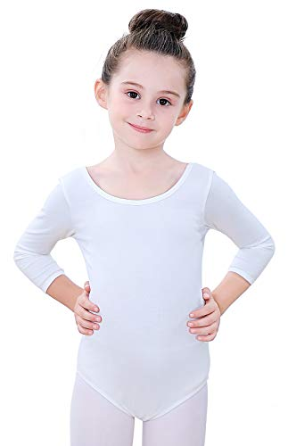 Soudittur Body Danza Bambina Balletto Body Leotards Costumi Cotone 3/4 Maniche Lunghe (Bianco, Tag 130(Height: 125-135 cm))