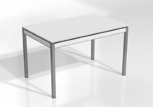 CANCIO Mesa Extensible BAMBOLA - Encimera Cristal Hielo Mate/Armazon Blanco Mate/Patas Aluminio, 125X80 cms
