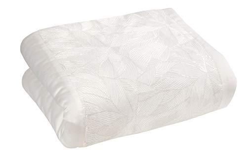 Sleepdown Luxuriöse Tagesdecke, Überwurf für Sofa oder Bett, mit Pailletten, Blätter, Blumenmuster, Austernfarben, 150 cm x 200 cm, Polyester & Baumwolle