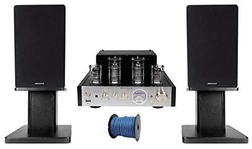 For Sale! Rockville BluTube Tube Amplifier+5.25 Black Bookshelf Speakers+Black 8 Stands