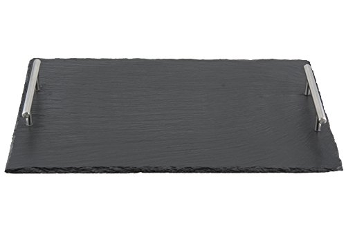 Apollo Rechteckiges Tablett mit Griffen 40x30 cm Schieferfarben