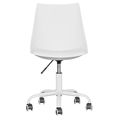 Home Office Desk Chair Computer Chair Fashion Ergonomic Task Working Chair with Wheels Height Adjustable Swivel PU Leather White