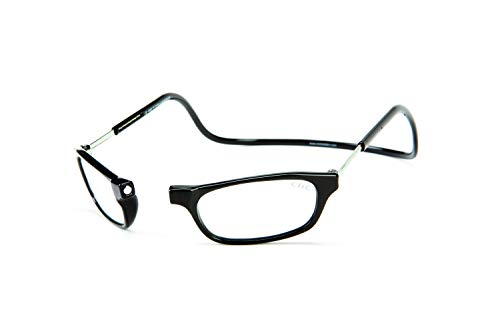 CliC Original Long Stem Adjustable Front-Connect Magnetic Reading Glasses; Black +2.50