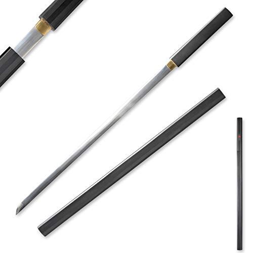 Sword Vally Handmade Katana Japanese Samurai Sword, Anime Sasuke Swords, Kusanagi-no-turugi, Stainless Steel / 1045 medium Carbon Steel, Black