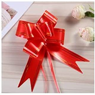 R.S.Collection 10 Bow Red Color 30mm Pull Bow Striped Ribbon String with 46cm Long Tulle Tails, Wedding Party, Bridal Gift...