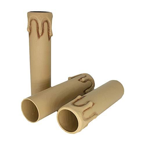 3 portavelas E14 L. 100 mm Marfil antiguo con gota Diámetro 26 mm para portavelas candelabro candelabro candelabro candelabro candelabro funda para vela Casquillo Vintage