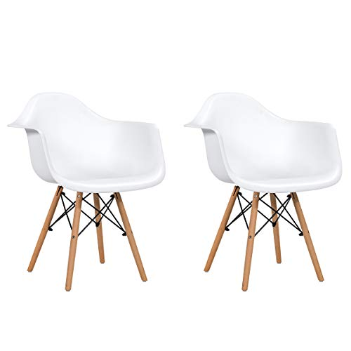 Giantex Set of 2 Modern Dining Chairs w/Natural Wood Legs, Easily Assemble Mid Century DSW Molded Plastic Shell Arm Chair for Living Room, Bedroom, Kitchen, Dining Room, Waiting Room (1, White)
