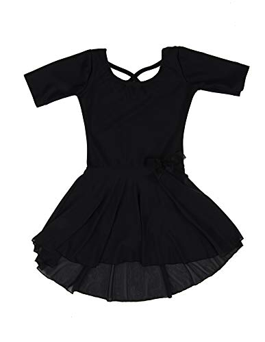 Leveret Kids Girls Skirt Leotard Black Long Sleeve Small (6-8 Years)